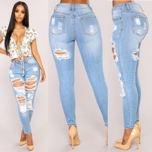 Free post hot ladies jeans fashion high waist trousers Slim sexy hole pants casual womens feet