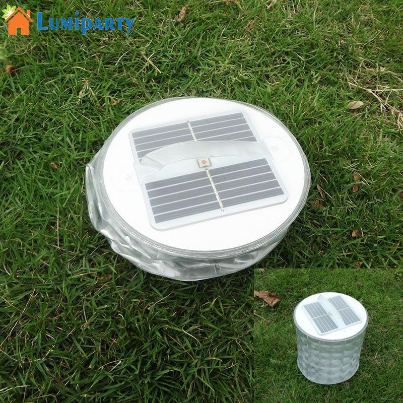 LumiParty Solar Light Colorful LED Light Waterproof Inflatable Lamp Solar LED Lantern for Outdoor Camping Hiking Biking