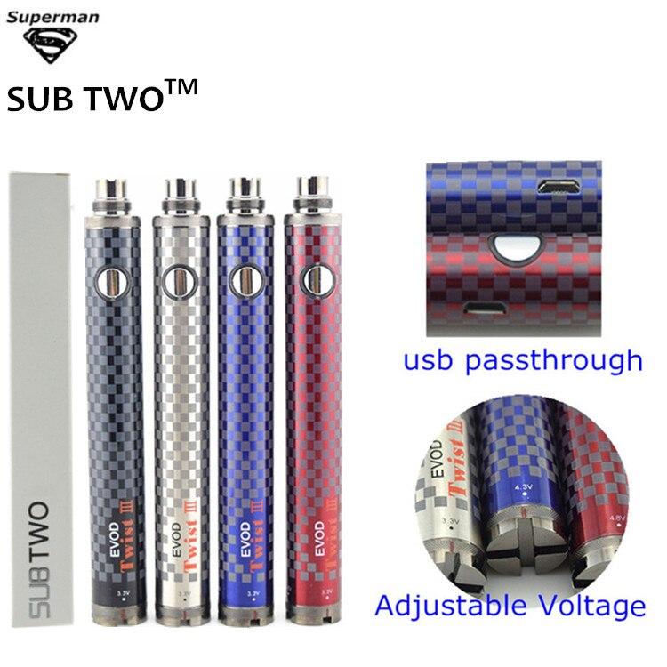 SUB DUE 10 pz 1600 mAh EVOD e sigaretta batteria EVOD Twist III Tensione Regolabile 3.3 V-4.8 V USB passare attraverso vaporizzatore