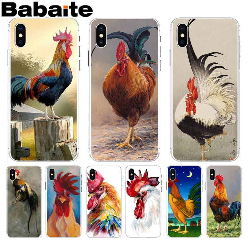 Babaite <font><b>Chicken</b></font> Big Rooster New Fun Phone <font><b>Case</b></font> Cover for <font><b>Apple</b></font> <font><b>iPhone</b></font> 8 7 <font><b>6</b></font> 6S Plus X XS max 5 5S SE XR Cover image