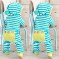Año nuevo mamelucos del bebé Recién Nacido de Invierno mezcla De Algodón ropa Del Bebé Mono traje Niña traje azul de Cielo de Mamelucos Rayados