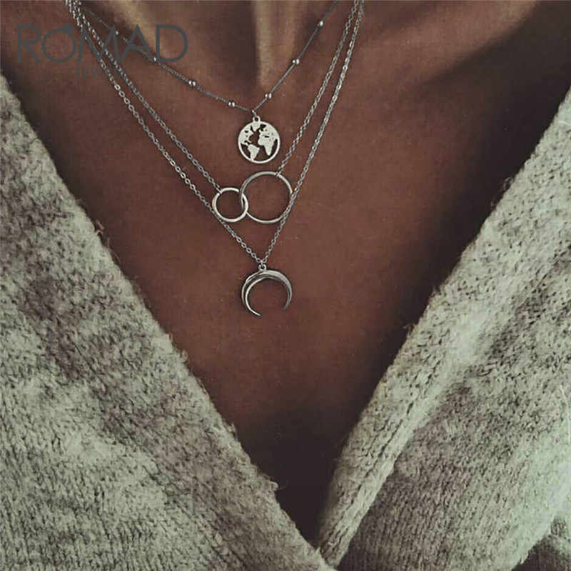 4ee7647ff7f27 ROMAD Bohemian Wanderlust Pendant Necklace For Women Multilayer ...