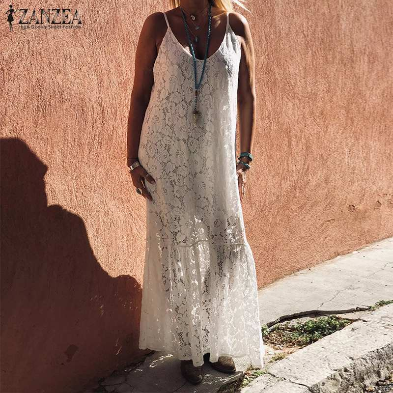 ZANZEA 2020 Bohemian Beach <font><b>Lace</b></font> <font><b>Dress</b></font> <font><b>Women's</b></font> Summer Sundress <font><b>Sexy</b></font> <font><b>Spaghetti</b></font> <font><b>Strap</b></font> <font><b>Backless</b></font> Maxi Vestidos Female Casual Robe 5XL image