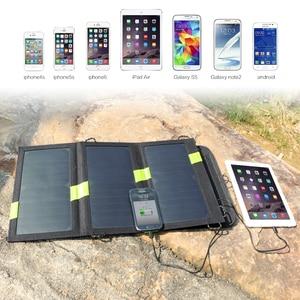 Image 5 - 20W 5V güneş enerjili telefon şarj cihazı çift USB çıkışı taşınabilir GÜNEŞ PANELI iPhone Samsung Xiaomi Huawei için akıllı telefonlar
