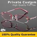 Mulheres óculos de luxo Diamante de corte Rmless lente de alta qualidade óculos de leitura Anti fadiga alta limpar len vidros ópticos 727