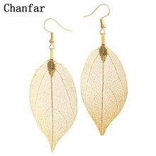 Chanfar – boucles d'oreilles en forme de grande feuille naturelle, Design de mode Unique, style bohème, goutte d'eau, longues, pour femmes, cadeau de mariage