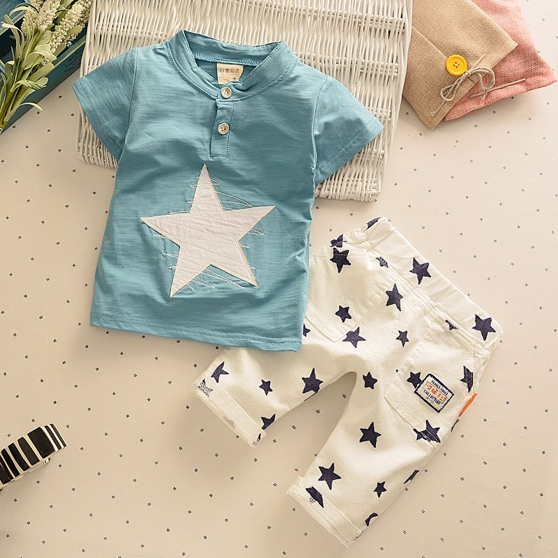 Bibicola baby boys clothing sets kids clothes summer children boys cotton suits star T-shirt+shorts boys fashion Tracksuit set fashion baby girl t shirt set cotton heart print shirt hole denim cropped trousers casual polka dot children clothing set