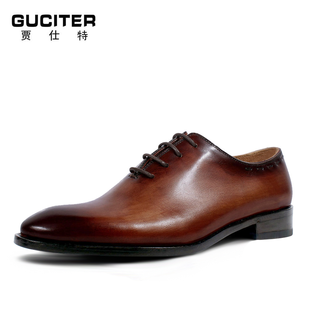 Free Shipping goodyear welted shoes 100% genuine leather lace-up dress shoes mens Oxford shoe Retro handmade wedding party 2017 vintage retro custom men flat hot sale real mens oxford shoes dress wedding party genuine leather shoes original design
