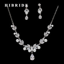 HIBRIDE 2017 New Women Bridal Pearl Jewelry Set For Wedding Gifts White Gold Color Necklace and Earring Set Factory Price N-237(China)