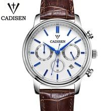 Cadisen Reloj De Lujo de Los Hombres 6 Punteros Fecha Auto de Cuero Genuino Reloj 30 M Resistente Al Agua Reloj de Los Hombres Reloj de Cuarzo Hombre Esfera Blanca