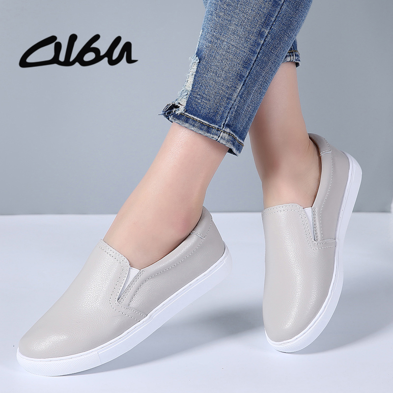 O16U Slip On Sneakers Flat Shoes Women Genuine   Leather   Moccains Loafers Ballet Flats Women Casual Boat Shoes Gray 2018 Spring