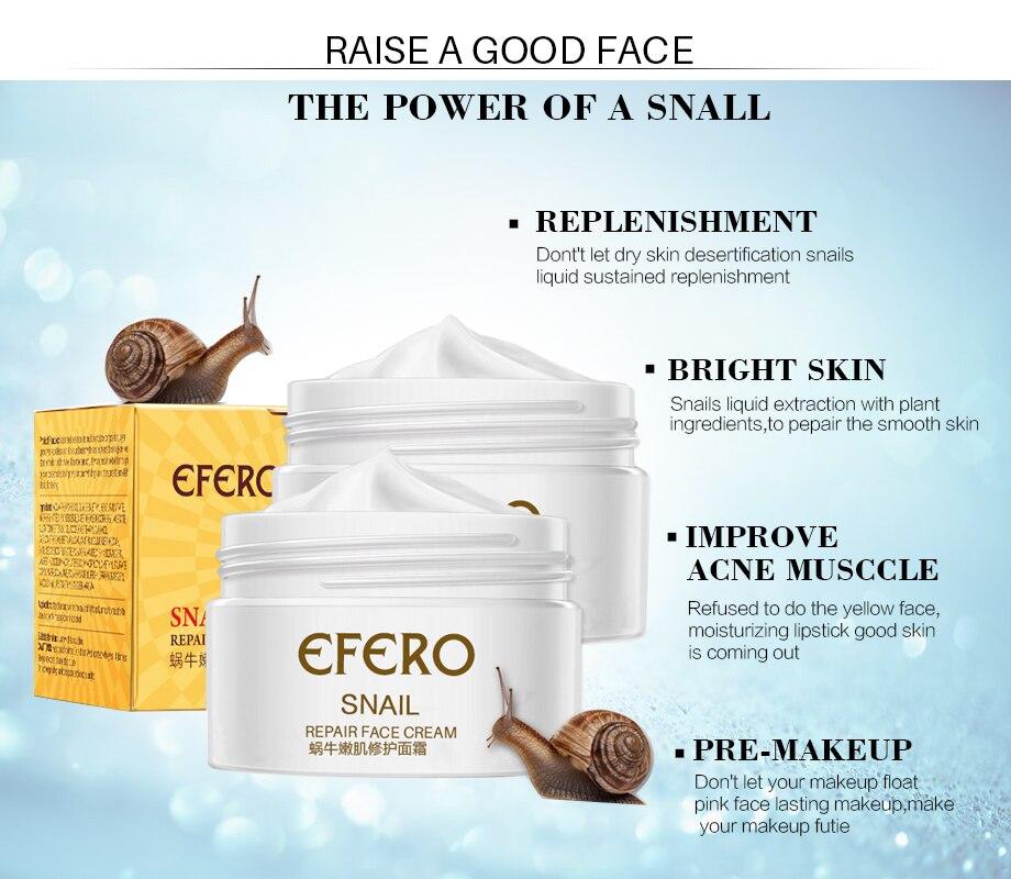 efero Snail Cream Moisturizing Face Cream for Snail Repair Anti Aging Essence Face Whitening Cream Wrinkles Firming Skin Care 2