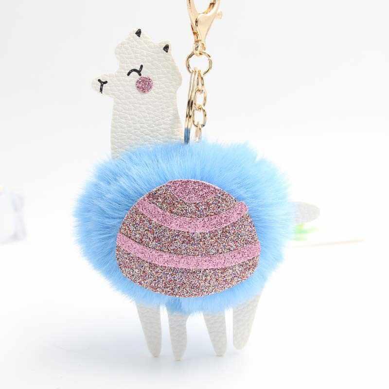 Śliczne alpaki/lamy Pom Pom Key torebka z łańcuszkiem torebka puszysty klucz brelok do torebki uchwyt na kluczyk samochodowy Porte Clef Llaveros dla dziewczynek