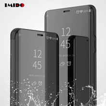 IMIDO Clear View Smart Mirror Flip Phone Case For Samsung Galaxy S9 S8 Plus S7 S6 Edge Note 9 8 J3 J6 J7 2018 Coque