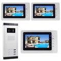 "DIYSECUR 7"" Metal Monitor Apartment Video Door Phone Doorbell Audio Visual Intercom Entry System IR Camera For 3 Families"