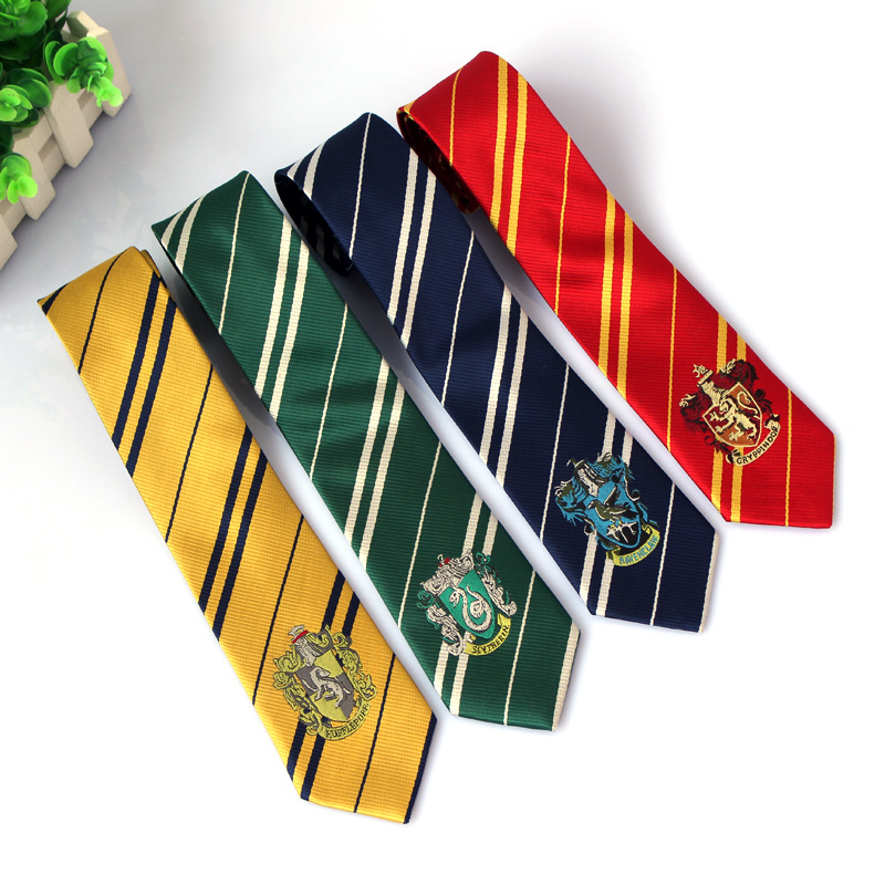 HOT! Potter Necktie ties Gryffindor/Slytherin/Hufflepuff/Ravenclaw Necktie ties Cosplay Costumes 4 HOUSES ties