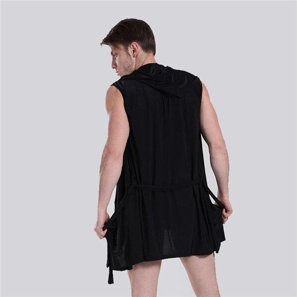b5b4ffb50a International Certification Silky Pajamas men Sleeveless Hooded bathrobe  Bath Robe Male Slim Thin Tracksuit Roupao Nightwear -in Robes from  Underwear ...