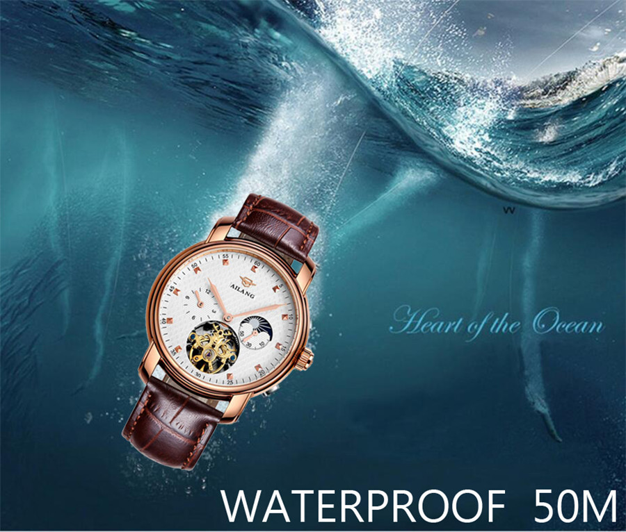 AILANG célèbre marque montre 2018 nouveaux hommes de luxe automatique montres mécaniques boîtier en or Rose cadran bleu bracelet en cuir Phase de lune - 4