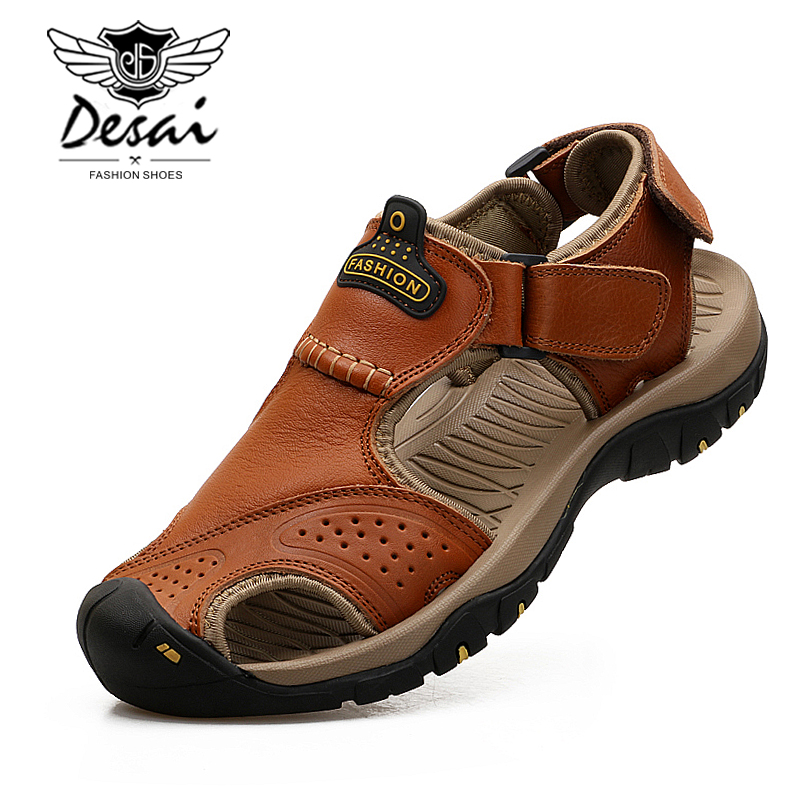 2019 Männer Sommer Sandalen Aus Echtem Leder Casual Schuhe Mann Römischen Stil Strand Sandalen Marke Männer Sommer Schuhe Große Größe 38 -44