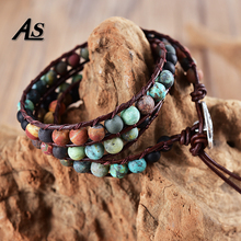купить Asingeloo Natural Matte Stone 6mm Afric Turquoise Beads Leather Bracelets 3 Wraps Handmade Vintage Jewelry Bracelet for Women по цене 319.14 рублей