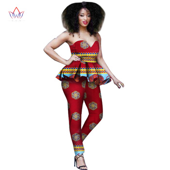 New Fashion African Dress Women 2 Piece Set Women Out Off Shoulder Sleeveless Dashiki Print Pants African Women Clothing WY645