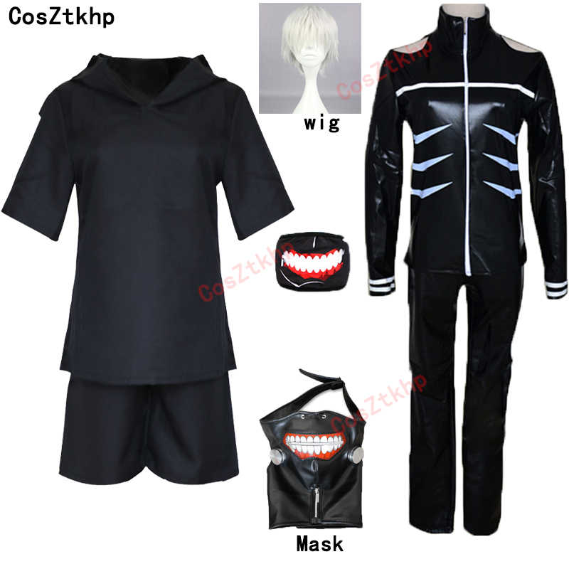 Japanese Anime Tokyo Ghoul Cosplay Costumes Kaneki Ken Cosplay Costumes Hoodie Jackets Black Fight Uniform Full Set With Mask