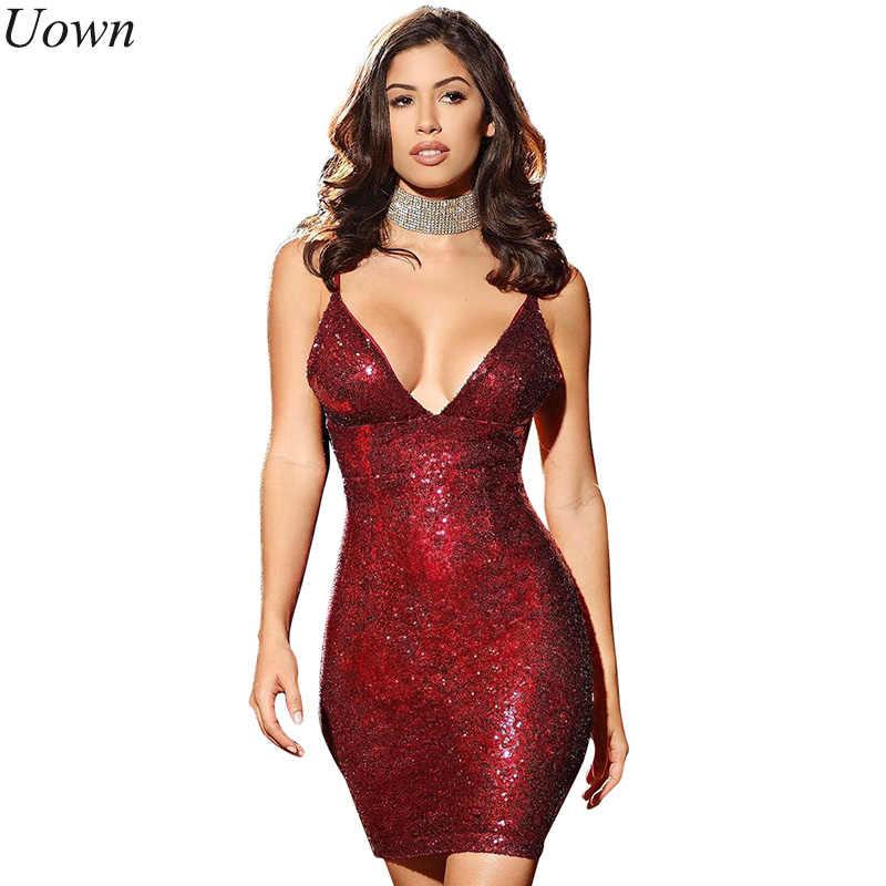 e35c3ce7595 Модные Элегантные спинки ремень v-образным вырезом Для женщин блестками  короткое черное платье облегающее мини