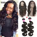 Brazilian Virgin Hair Body Wave With Closure Human Hair Bundles With Frontal Closure 360 Lace Frontal With Bundle Pre Plucked