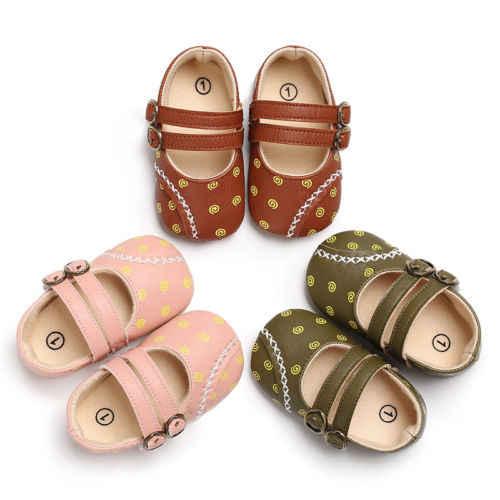 0-18 м из мягкой кожи одежда для малышей обувь с двойной пряжкой новорожденных детские кроватки пинетки мягкие Нескользящие подошве принцесса кроватки обувь