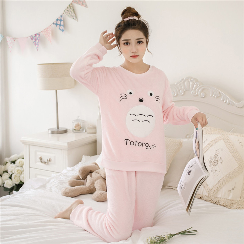 Women pajamas set Women Pyjamas Thick Flannel Cute Sheep Female Warm Winter Pajama Set Long Sleeve Full Trousers Two Piece 2019 60