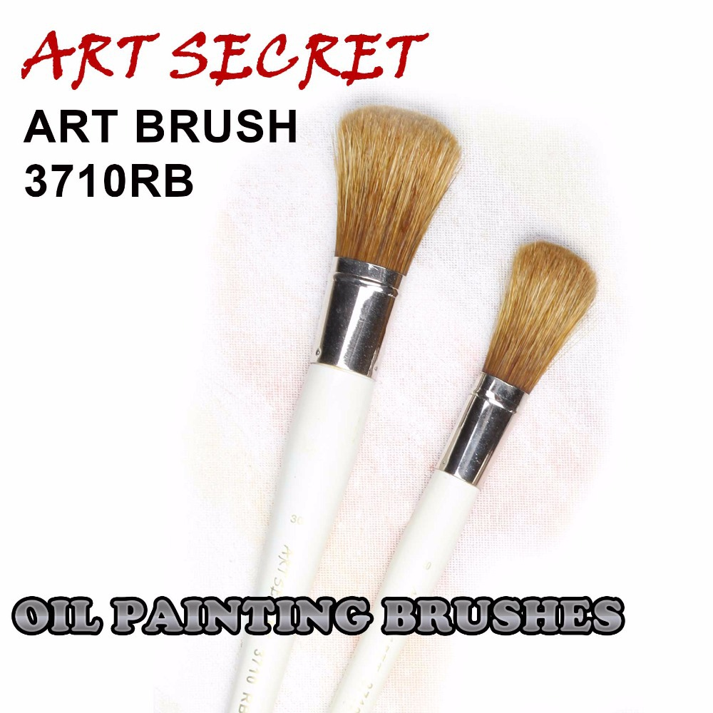 3710RB High Quality Hog Bristle Hair Brass Ferrule Wooden Handle Paint Art Supplies Artist Brush