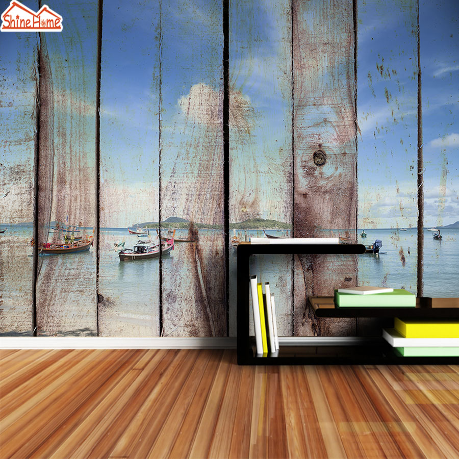 ShineHome-Customs Wall Papers Home Decor Glitter Mural 3d Wallpaper For 3 D Living Room Walls 3 D Papers Wood Pattern Wallpapers