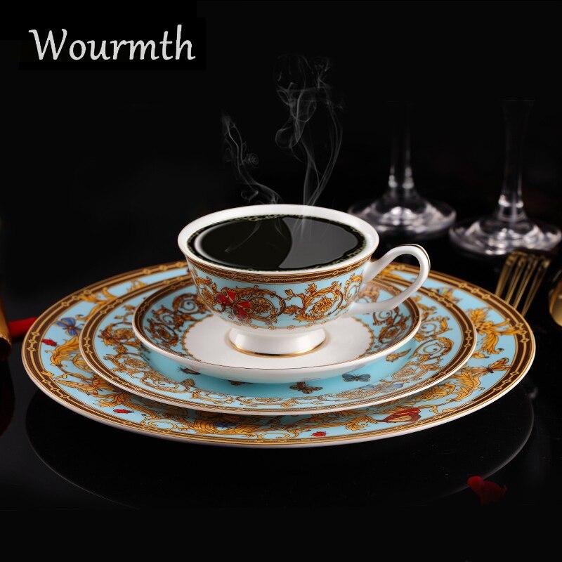 Wourmth 4 pièces/ensemble céramique occidentale assiettes à café tasse soucoupe ensemble luxe dîner vaisselle ensemble assiettes tasses et soucoupes Kit