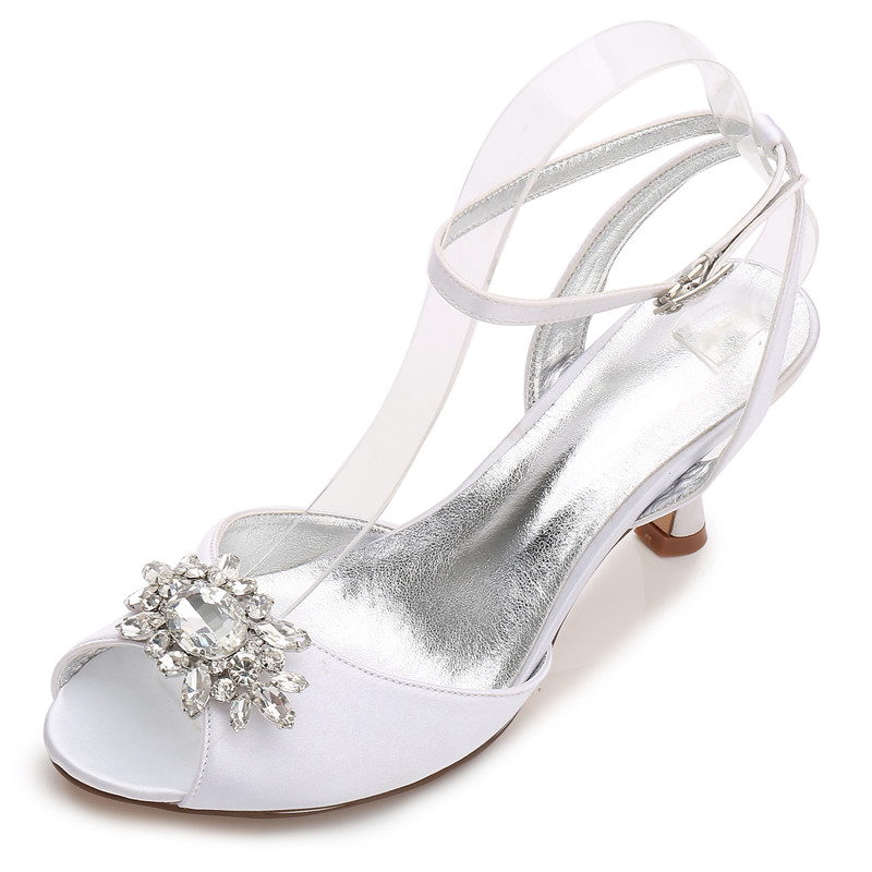 Ladies Diamante Crystal Mid Heel Ankle Strap Cut Outs Pointed Toe Party Shoes