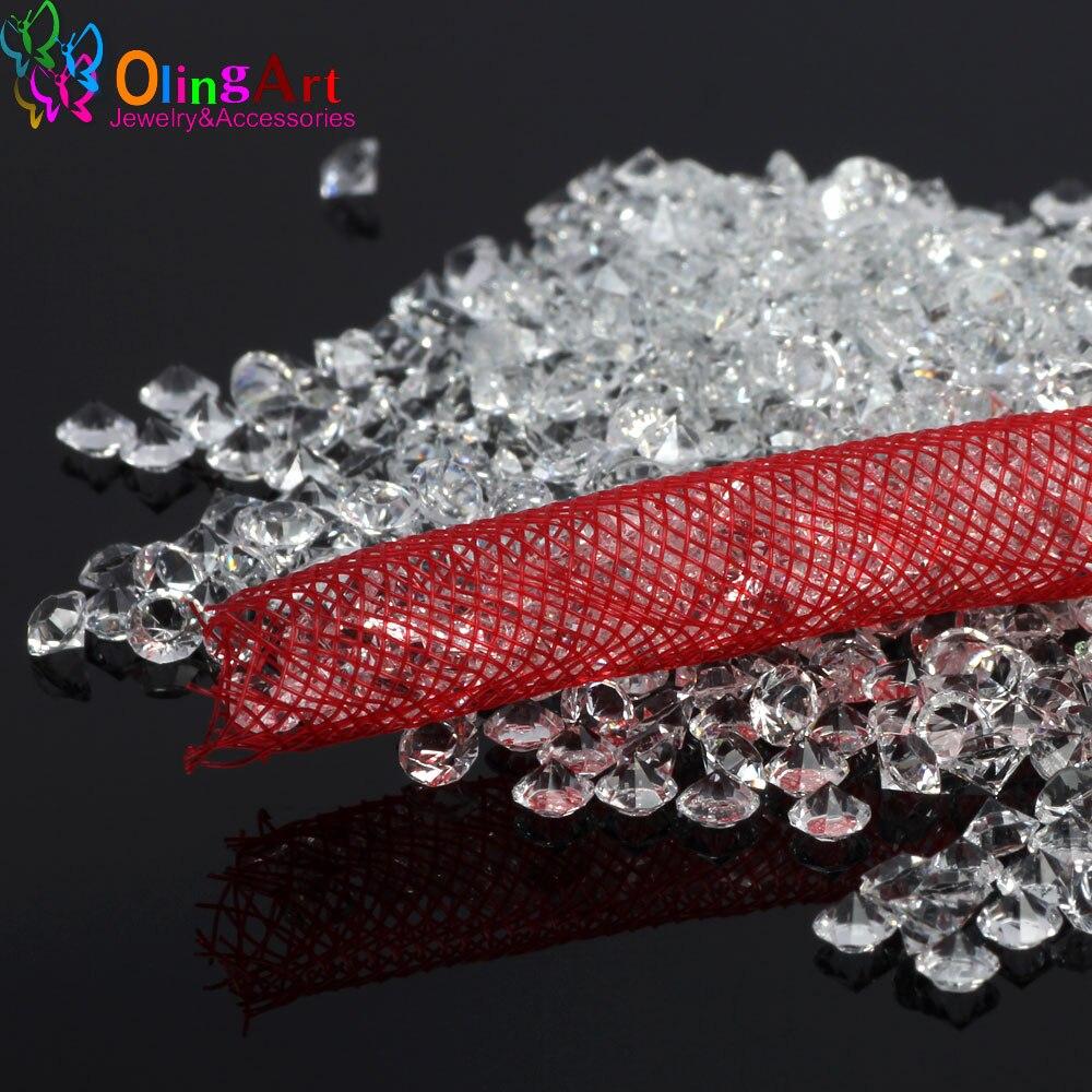 OlingArt Resin Zirconia Stone 3mm/4mm 25g Crystal Transparent Rhinestones Round DIY Bracelet Necklace Net Rope Jewelry Making