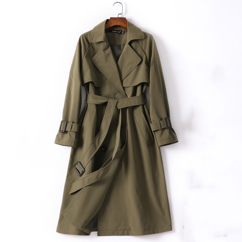 Adjustable waist cotton trench coat women army green double breasted turn down collar slim thin outerwear 2019 autumn winter