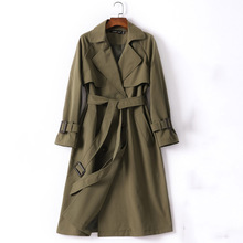 Adjustable waist cotton trench coat women army green double breasted turn down c
