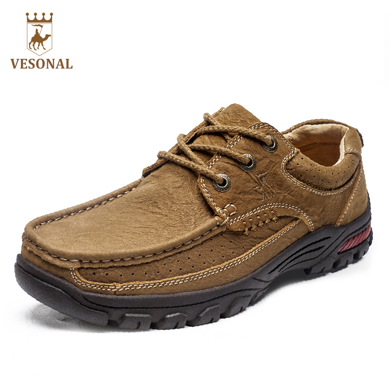 VESONAL Quality Brand Casual Male Shoes Adult Men Walking 2017 Comfortable Genuine Leather Chaussure Homme Footwear Man Quality купить