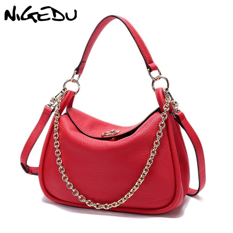 NIGEDU 100% Soft Genuine Leather Handbag Ladies Chain Shoulder Crossbody Bag For Women Shoulder Bags Brand Luxury Design Totes