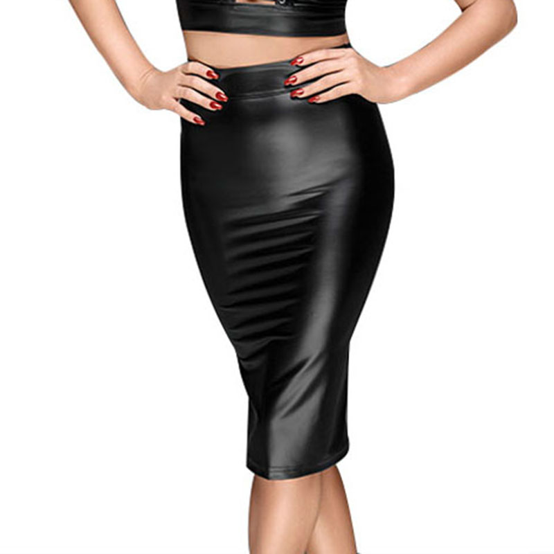 Wet Look PU Leather Skirt Women Sexy Black Strappy Zipper Hip Wrap Pencil Midi Skirt Vinyl Leather Club Wear Bandage Short Skirt (4)