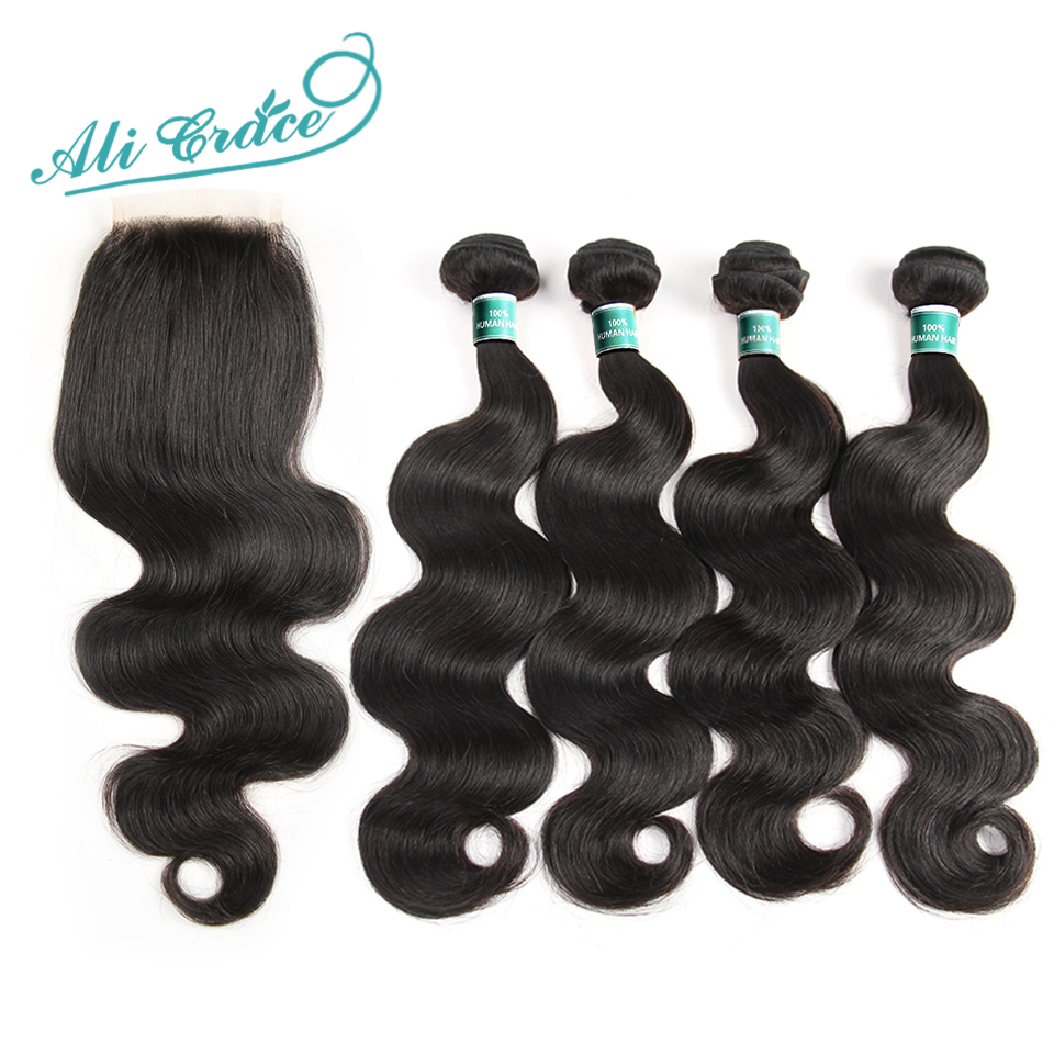 Ali Grace Hair Indian Body Wave 4 Bundles With 4 4 Closure 100 Remy Human Hair