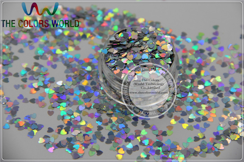 LM-0 Size 3 mm laser holographic silver color Glitter paillette  Heart  shape spangles for Nail Art  and DIY supplies1pack=50g tcf510 solvent resistant neon rose carmine color mickey mouse shape spangles for nail polish and other diy decoration1pack 50g