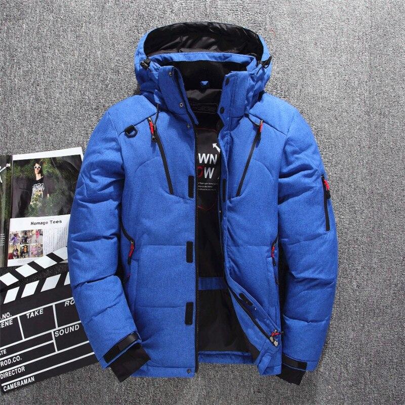 Veste de Ski pour hommes d'hiver améliorée plusieurs poches épaissir 80% vestes à capuche en duvet de canard blanc manteau de neige garde au chaud