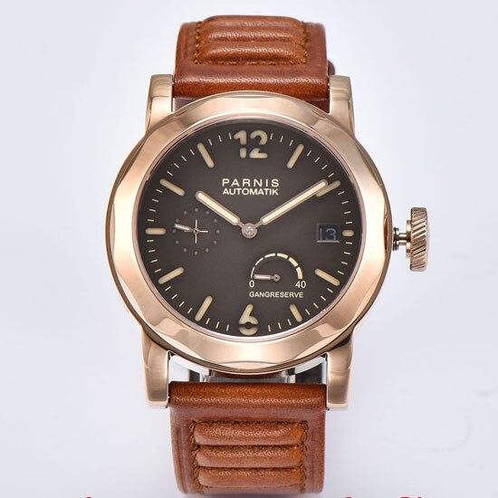 Parnis 44mm coffee dial golden case Sapphire Glass ST2530 Automatic movement Men's watch 694 все цены
