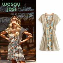 Summer women dress Floral Print Mini Dress V-Neck Lace up Waist Boho Dresses Flutter Short Sleeve Summer Dress Women Clothing geo lace yoke flutter sleeve top