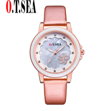 2017 New O.T.SEA Model Flower Leather-based Watches Girls Girls Crystal Gown Quartz Wristwatches Relogios Feminino OTS097