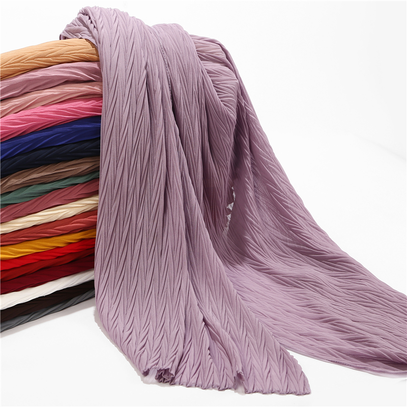 New Leaf Pleated Women Wrinkle Bubble Chiffon Hijab Scarf Shawls Crinkle Muslim Turban Wraps Pleat Shawls Long Wrap Scarves