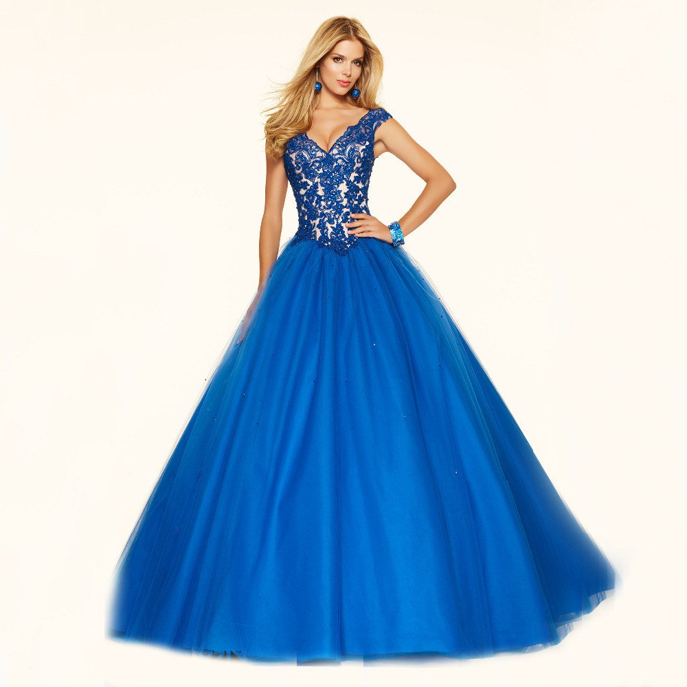 Luxurious Ball Gown V neck Cap Sleeves Lace and Beading Puffy Party ...