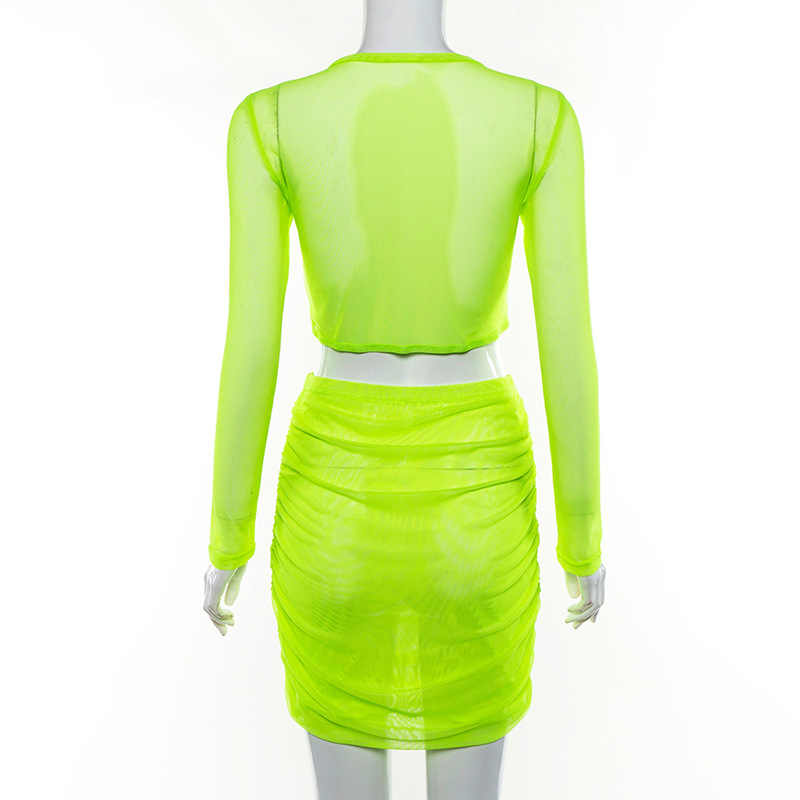 2019 New summer Fluorescence two piece set women fashion sexy mesh material outfit skirts with full sleeve crop top skinny set