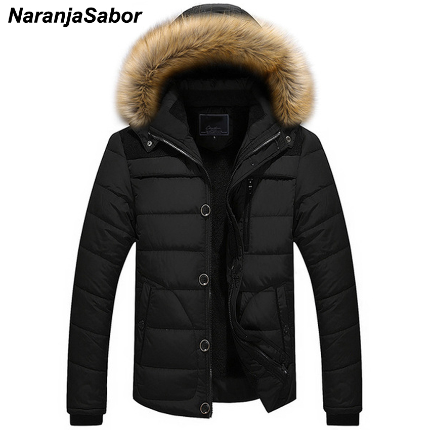 NaranjaSabor 2019 Winter New Men's Thick Coat Casual Overcoats Mens Jackets   Parkas   Male Outwear Inside Fleece Hooded Coats 6XL